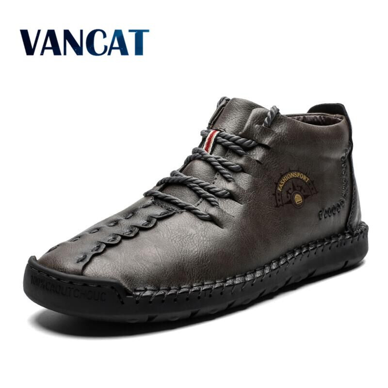 2019 New Fashion Men Boots High Quality Split Leather Ankle Boots Warm Fur Snow Boots Plush Lace-Up Winter Shoes Plus Size 38~48