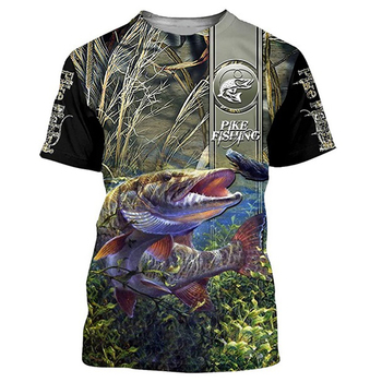 bass fishing 3D full printing fashion t shirt Unisex hip hop style tshirt streetwear casual summer women for men