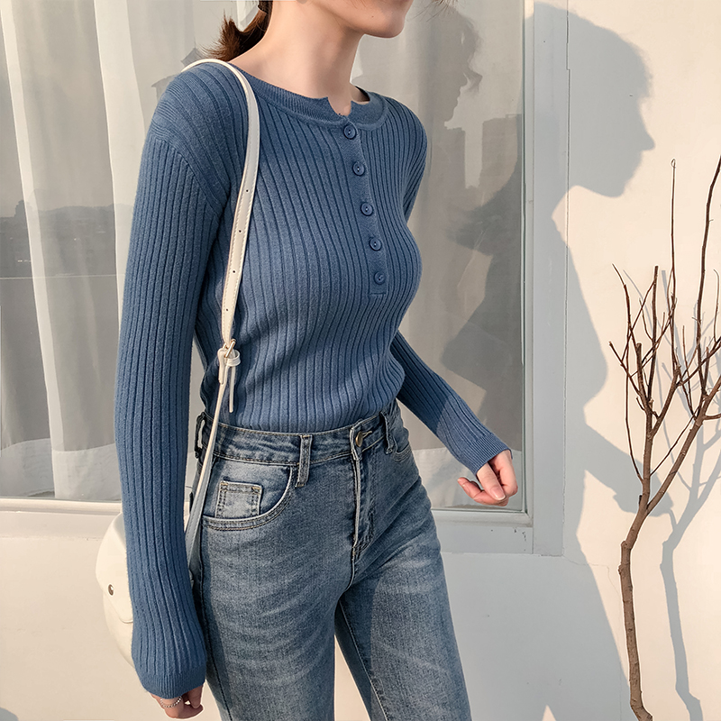 2019 Autumn O-neck Sexy Slim Sweater Botton Knitted Pullover Bottoming Women Casual Vintage Sweater Colthing Office Lady Tops