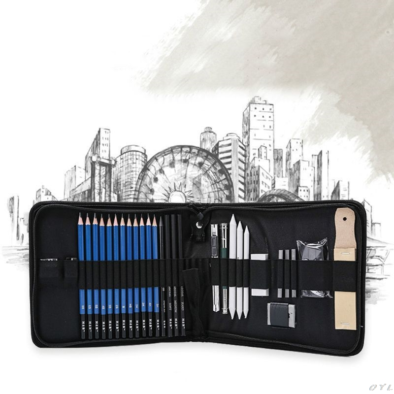 32 Pc Sketching Set In Travel Roll Up Case With Charcoal, Drawing  Pencils PXPA