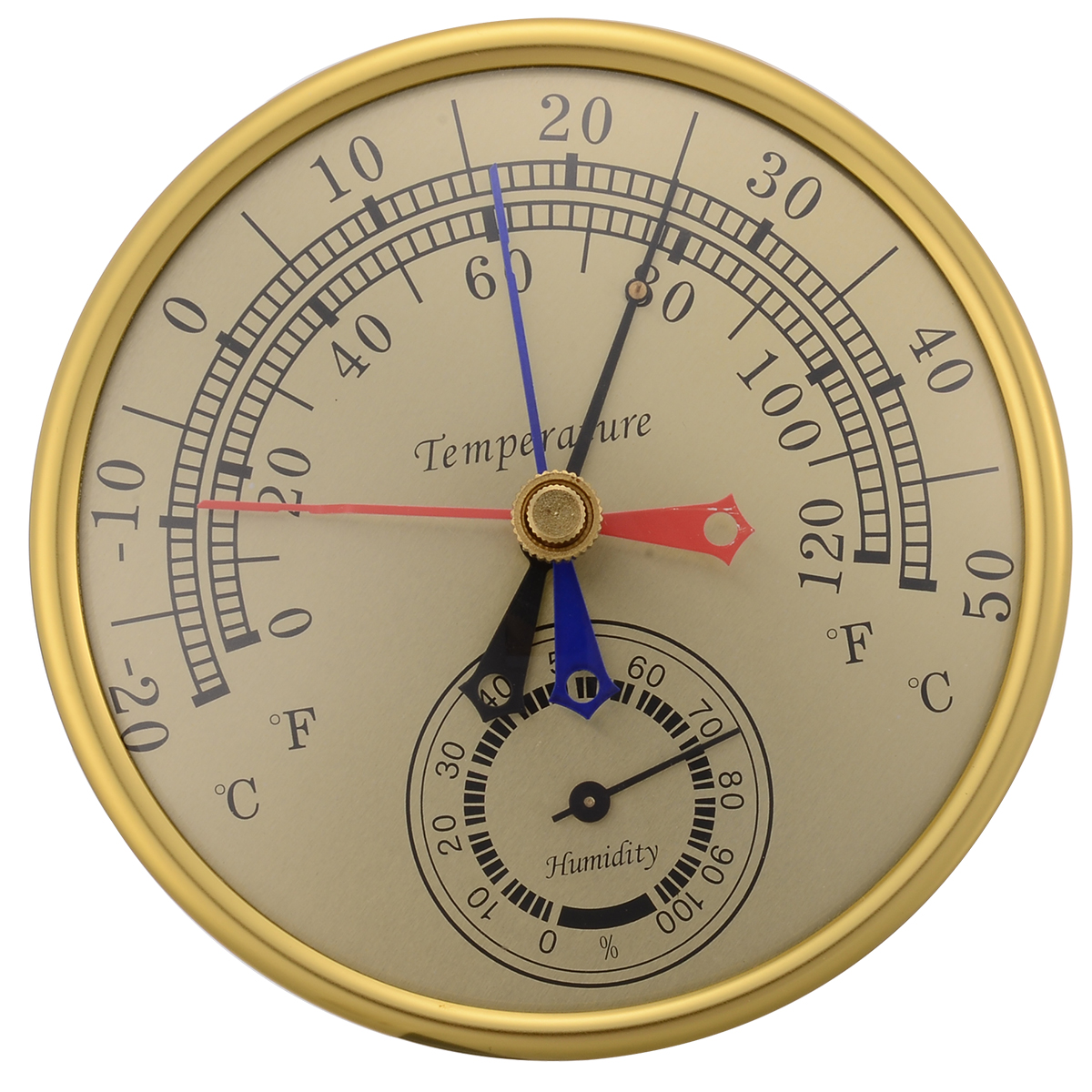 1pcs New Max Min Thermometer Humidity Meter Home Temperatures  Hygrometer Record Instrument Brass Indicator For Indoor Outdoor
