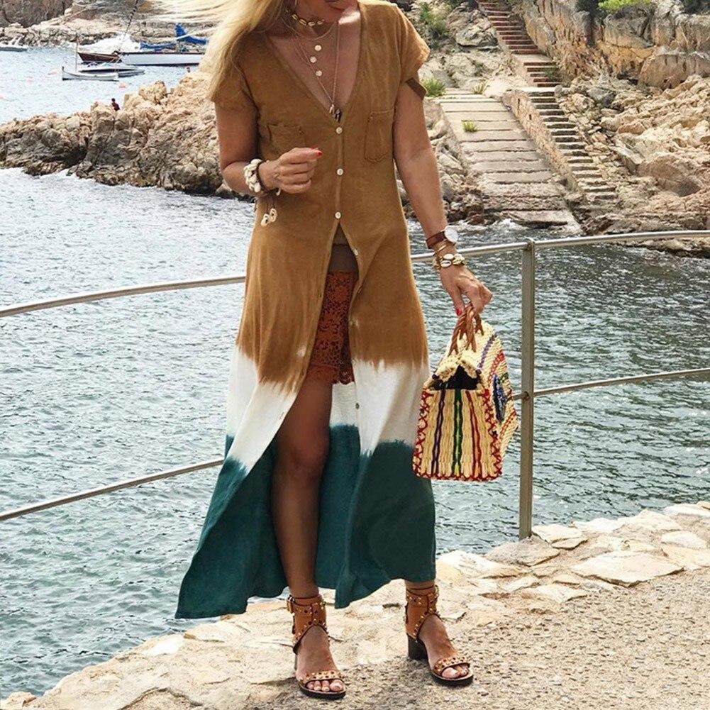 Fashion Patchwork Long Shirt Summer Colorblock V-neck Shirts Short Sleeve Trench Cardigan Women Blouse