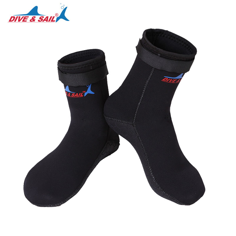 DIVE&SAIL Men 3mm Neoprene Scuba Diving Socks Shoes Scratch Proof Non-slip Winter Water Sports Snorkeling Surfing Swimming Boots