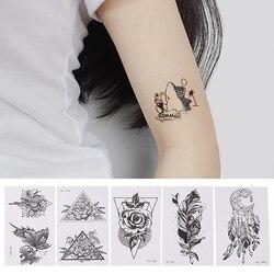 5Pcs/set Small Sexy Black Cartoon Waterproof Temporary Tattoo Cute Animal Tattoo Sticker Women Body Art Waterproof Tatoo