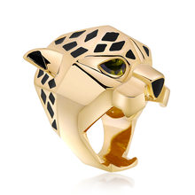 Hot-selling European And American Exaggerated Leopard Head Alloy Color-retaining Dropping Oil Ring(China)