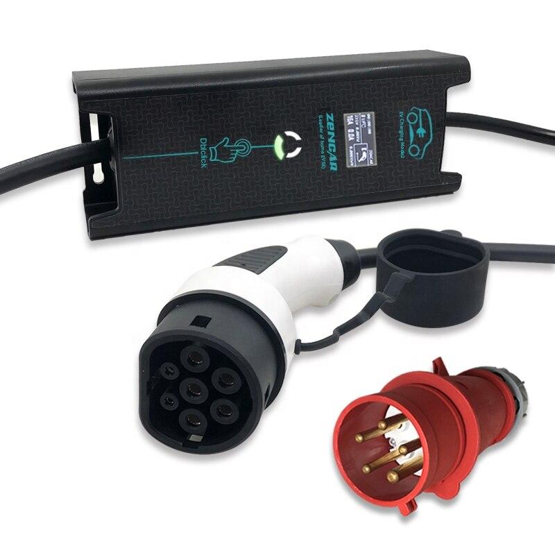 22 kW ev cargador portátil evse Tipo 2 enchufe ajustable 10A 16A 24A 32A 5M cable negro para Cargador de Casa de coche eléctrico