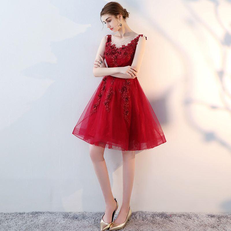 New Fashion Tulle Red   Cocktail     Dress   Cute Girly Lace Short   Dresses   For   Cocktail   Party