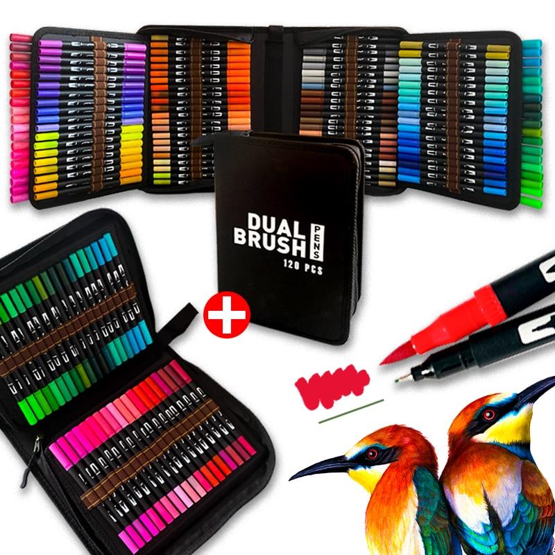 Dual Fine Tip /& Flexible Brush Art Pens Set Water Based Markers 12-120 Colors