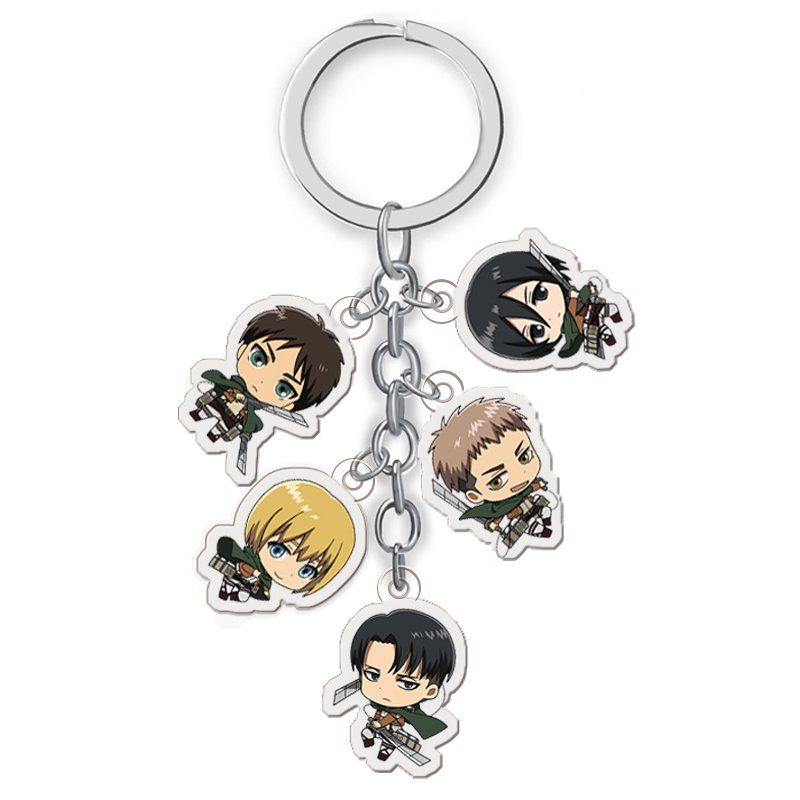 Attack On Titan Keychain Double Sided Acrylic Key Chain Pendant Anime Accessories Cartoon Key Ring