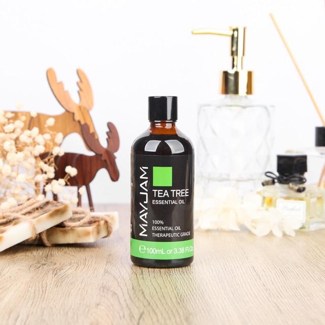 100ml Pure Natural Tea Tree Sandalwood Essential Oils Diffuser Plant Lavender Mint Vanilla Lemon Rose Eucalyptus Essential Oil 5