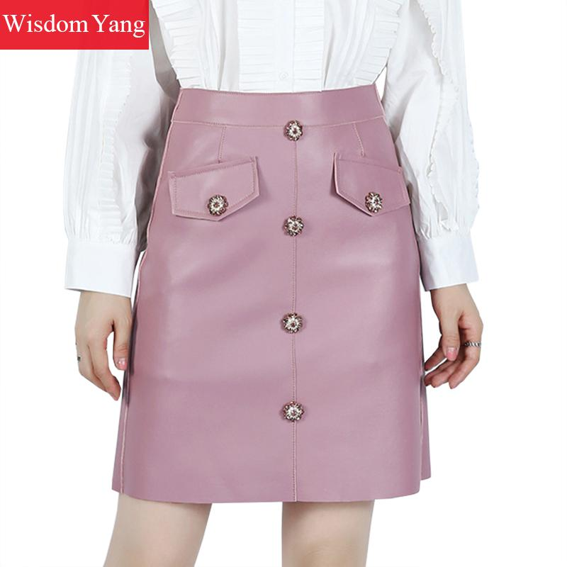 Autumn Genuine Leather Sheepskin Skirts Woman High Waist Mini Skirt Womens Korean Party Sexy Pink Black Pencil Midi Wrap Skirt