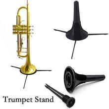 Trompete Tripé portátil Dobrável Titular Suporte de Metal Perna De Bronze Acessórios Instrumento Musical Instrumento Acessório de Plástico Preto