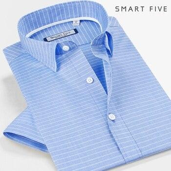 Men Shirt short Sleeve Cotton 100% Striped Slim Fit Men Shirt Male Clothes Camisa Masculina  5XL 6XL