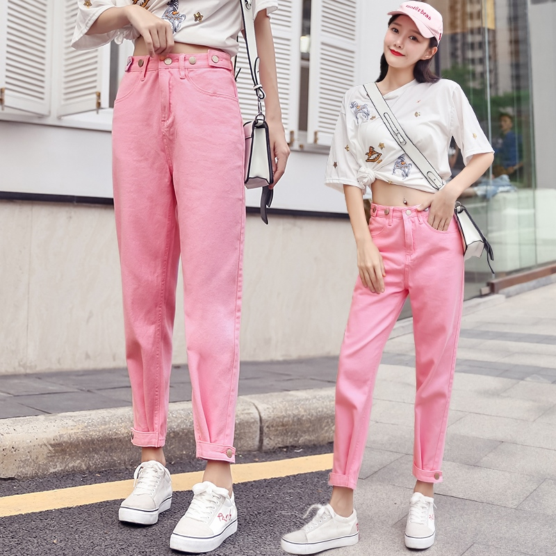 Spring Summer Trousers Pink New women denim jeans Casual Fashion All Matched pants denim Harem capris jeans Young Ladies NZ59