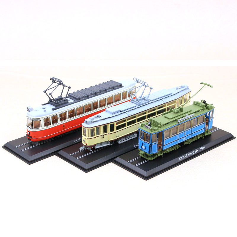 Atlas Classic Train Bus 1/87 Collection Diecast Trolley Model Cars Toy Vehicle Alloy Casting Tour Tram Car Toys