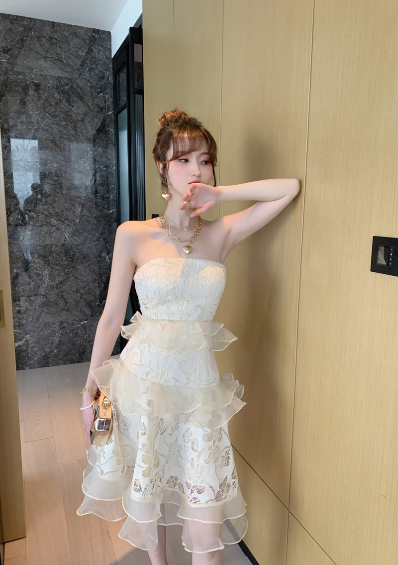2020 Off the Shoulder Strapless Sexy Dress Summer High-end Women Vacation Dress  Patchwork Ruffles Party Evening Dress Vestidos