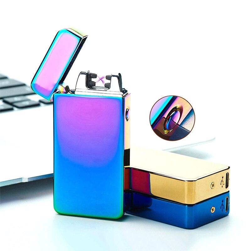 USB Lichtere Elektrische Dual Arc Metalen FlamelessTorch Oplaadbare Windaansteker Nieuwe Mode en Hot Selling-in Sigaret accessoires van Huis & Tuin op  Groep 1