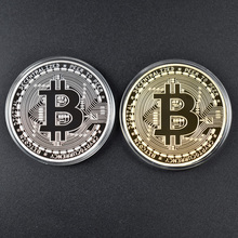 1PC Gold Plated Bitcoin Coin BTC Bit Art Physical Metal Collectible for gift with plastic case