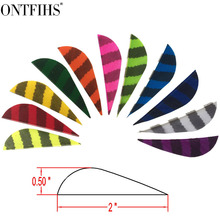 36 PCSONTFIHS  2inch Arrow Feather Parabolic Striped Archery Fletches Fletching Arrow Feathers Hunting 36 pcs ontfihs new 2 5inch archery fletches feather parabolic stripe plume turkey feathers arrow fletching for hunting shooting