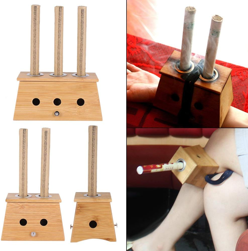 Roller-Stick Acupuncture Smokeless Moxibustion Moxa Bamboo for Burner-Box Relaxation title=