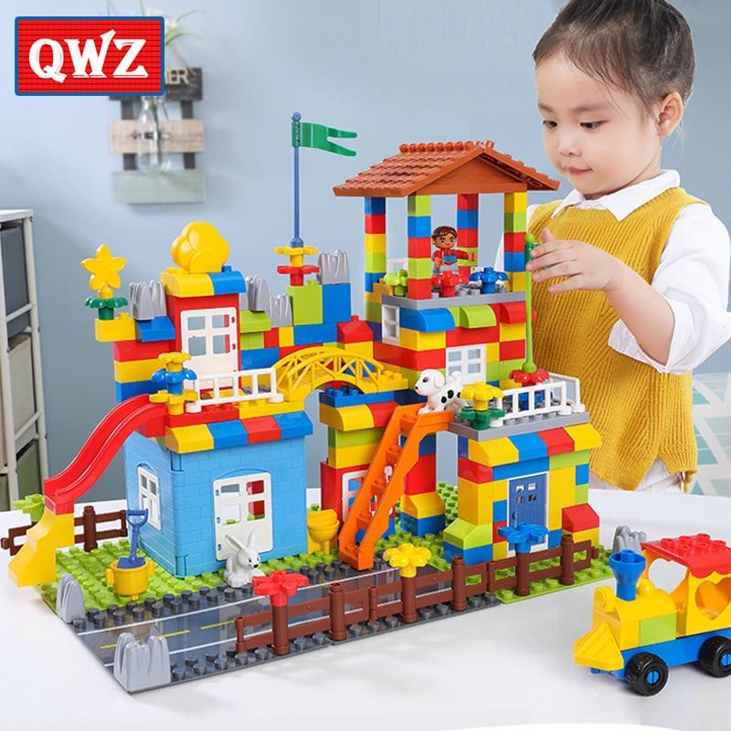 QWZ Big Particle Race Run Slide Blocks Compatible Duploed City House Castle Building Blocks Brick Toy For Children
