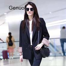 Classic double breasted solid blazers women casual long blazer