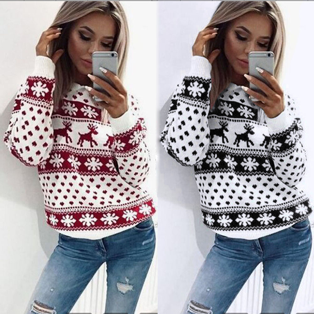 Winter O-Neck Sweater Women 2019 New Christmas Xmas Knitted Pullover Sweater Female Floral Dot Print Long Sleeve Jumper Sweater
