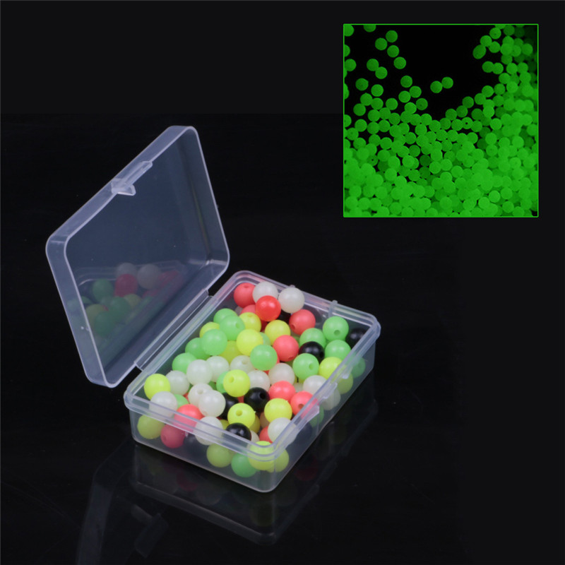 100Pcs/Set  6mm/8mm Fishing Beads Stopper Luminous Round Fishing Space Beans Rig Fishing Lures Ccessory `2