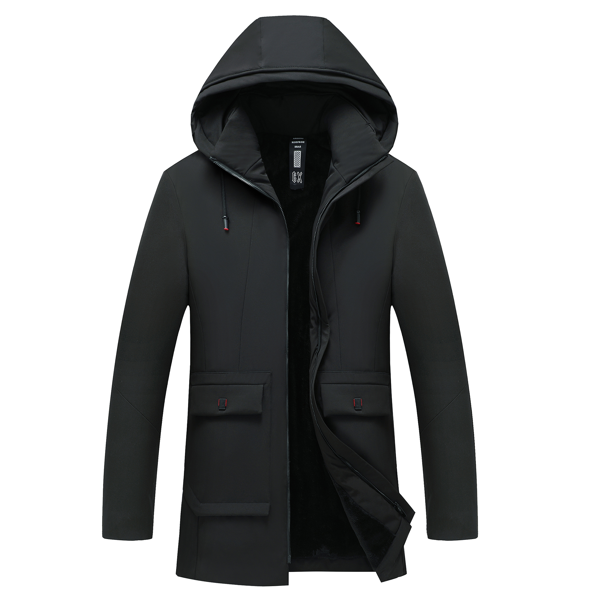 Winter Men Fleece Bomber Jacket  Brand Hooded Long Top High Quality Male Coat Casual Streetwear Father's Gift Size XL-5XL;YA509