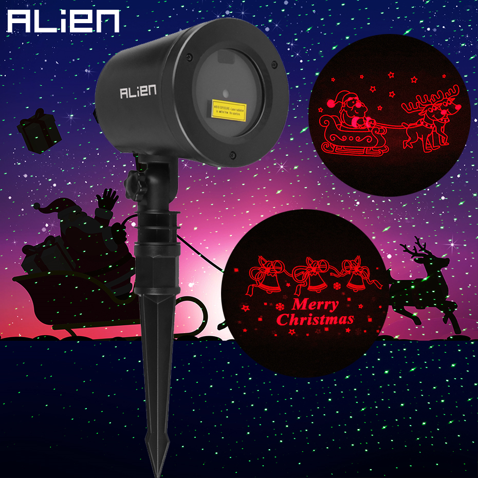 ALIEN Outdoor Waterproof Garden Laser Lights Projector Motion Red Merry Christmas And Elk Sled Cartoon Pattern Static Green Star