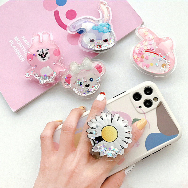 Silicone Cartoon Cute Cartoon Mobile Phone Handle Holder Mobile Phone Extension Phone Holder For IPhone Xiaomi Samsung