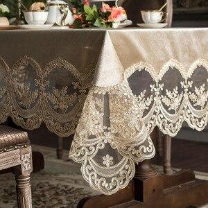 Image 1 - High grade Europäischen spitze tisch tischdecke stoff rechteckigen esstisch abdeckung champagner kaffee Nordic esstisch stuhl abdeckung