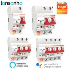 цена на Lonsonho Smart WiFi Circuit Breaker AC Breaker Surge Protector 1P 2P 3P 4P 16-125A Tuya Smart Life Alexa Google Home Compatible