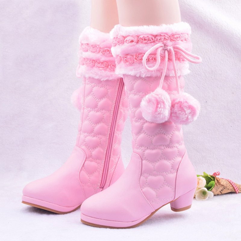 Pink Winter Boots Girls High-heeled Children's Leather Snow Boots Flowers Princess Plush Warm Fashion Kids Party Boots