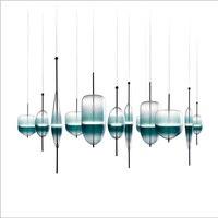 현대 간단한 크리 에이 티브 블루 유리 led 펜 던 트 빛 유럽 스타일 럭셔리 램프 현대 유리 실내 광택 조명 레스토랑