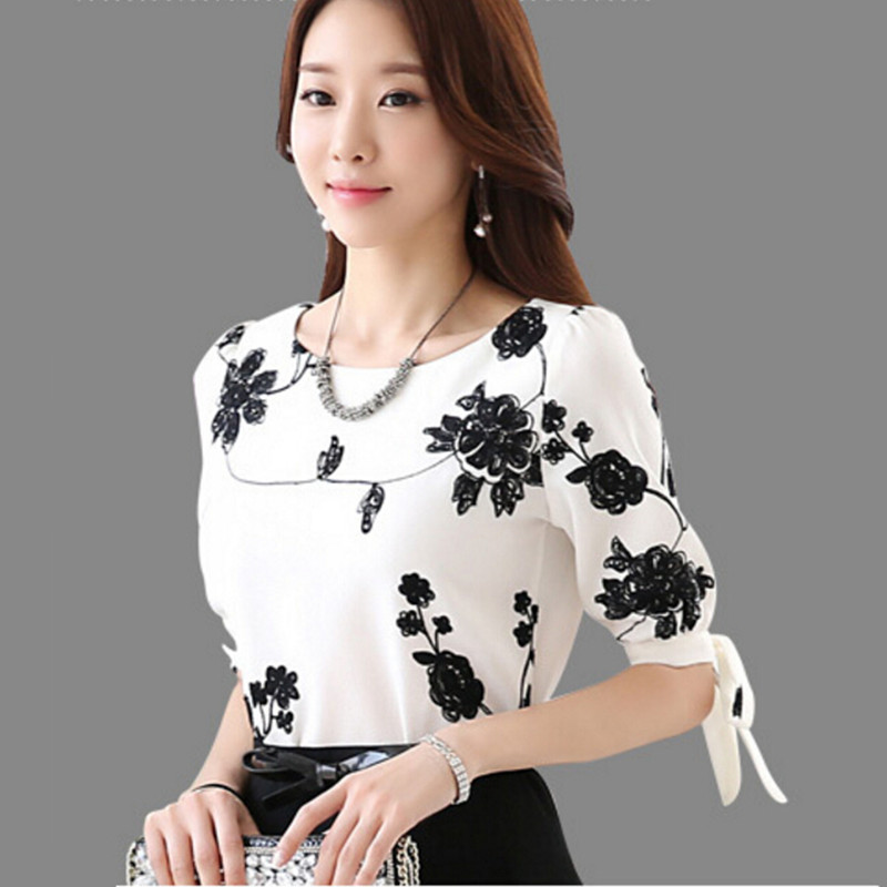 wokeayer Fashion Women Shirt Blouse Summer Tops Chiffon Casual Shirt O Neck Half Sleeve Floral Printing Female Blusas Clothing 3