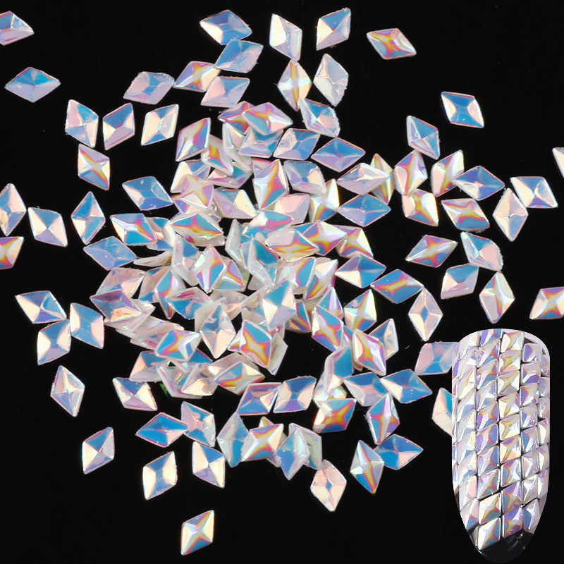 1PC เซ็กซี่ใหม่ความงามเต็มรูปแบบ 3D Super SHINY Bling สามเหลี่ยมเล็บ Paillette ตกแต่งเล็บ AB Chameleon เล็บ Glitter sequins