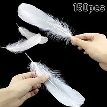 150 шт. натуральные большие белые чистые перья для рукоделия, перья для украшения головных уборов