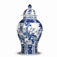 Large Blue And White Porcelain Ginger Jar Love Story Chinese Vase With Lid For Tabletop Flower Storage Temple Jar Desk Ornament