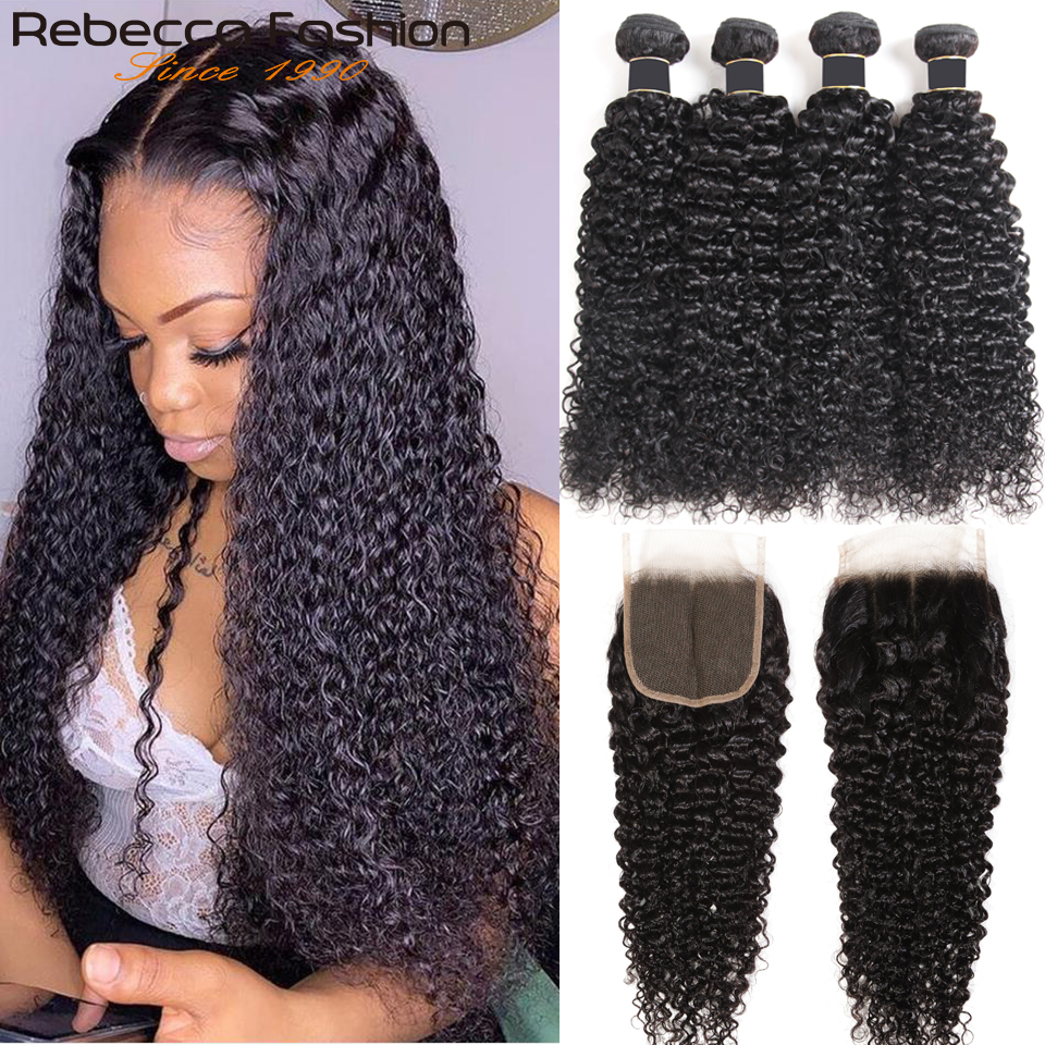 Rebecca Kinky-extensiones de cabello humano rizado brasileño, mechones con cierre, 3 mechones