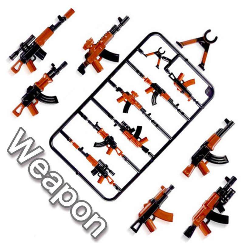 Legoily Duploed conjunto militar ejército ciudad policía armas serie Pack ciudad soldados SWAT bloques de construcción juguetes para niños