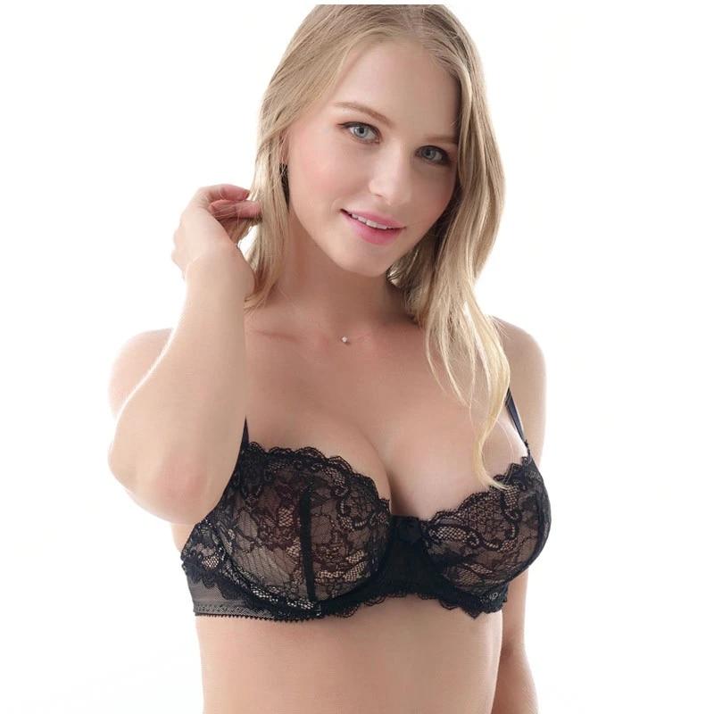 Transparent Unlined Plus Size Bras Underwear Bralette for Women Full Cup Bralet