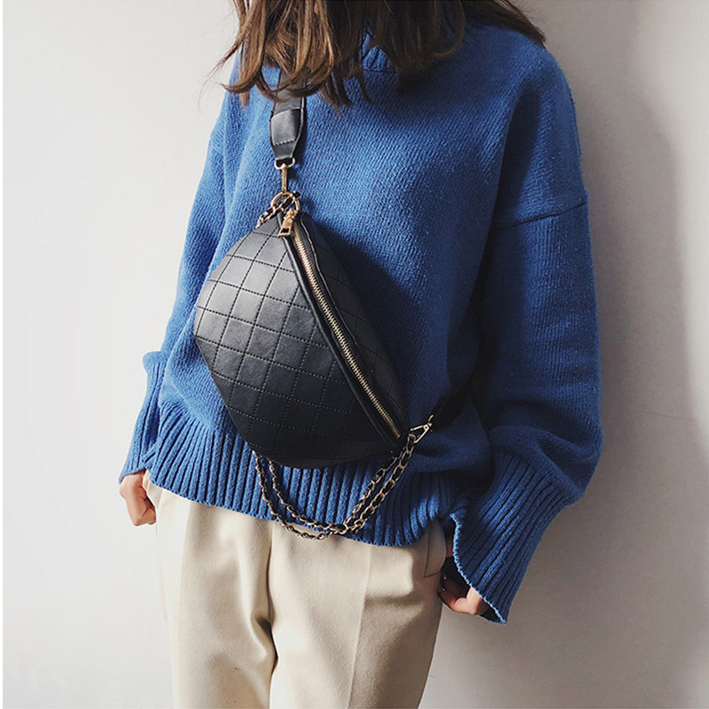 Fashion Waist Bag Women's Fanny Pack Belt Bags PU Material Chest Packs Banana Bag Lingge Female Bum Package Crossbody Pack