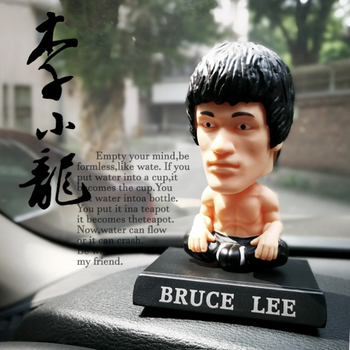 Bruce lee Chinese kung fu superstar shake head caraccessories cartoon car dashboard toys office accessories gifts collections wall hanging bruce lee kung fu dragon tapestry