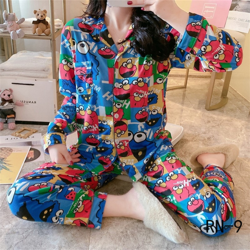 Fashion 2020 Spring Women Pajamas Suit Long Sleeve Cartoon Girls Sleepwear Casual Female Loungewear Polyester Women Pyjamas Set