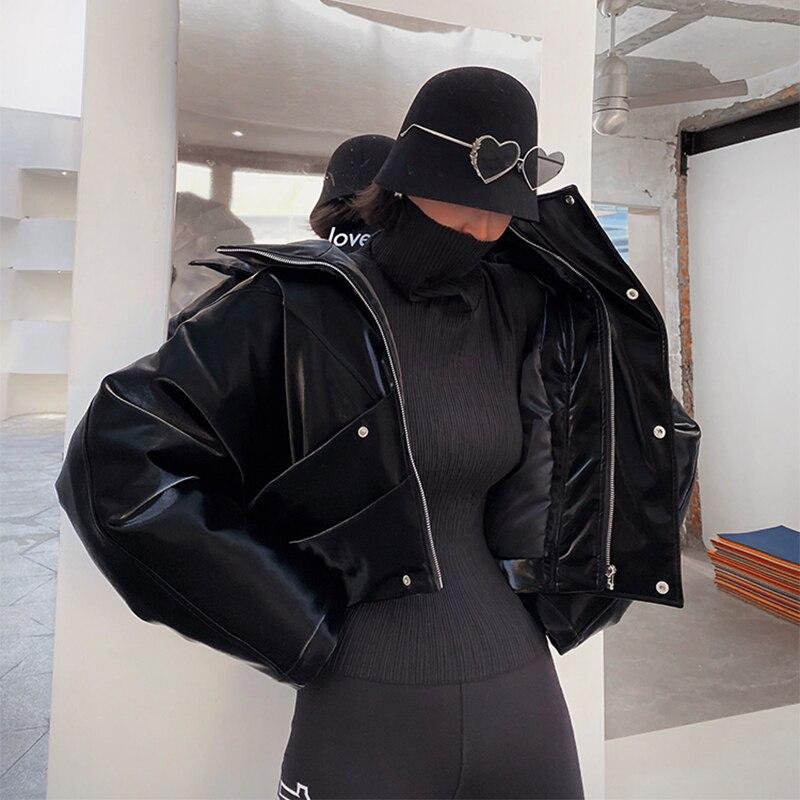 Lautaro Zip Up Patent Leather Jacket Women Long Sleeve Reflective Clothing Short Large Size Soft Faux Leather Jackets For Women