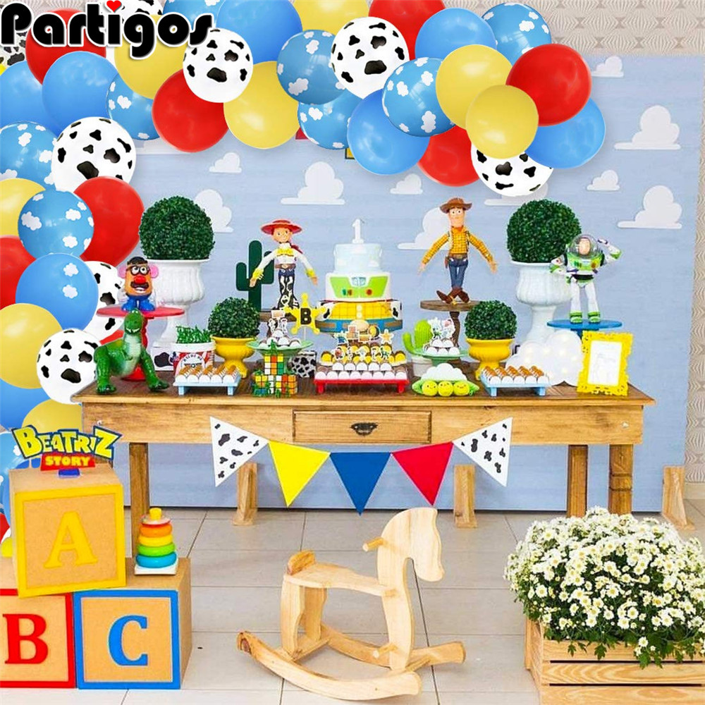 87pcs/lot Toy Party Cloud Balloons Garland Arch Kit for Airplane Birthday Party Baby Shower with Cloud Cow Print Latex Balloons image