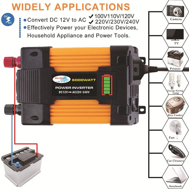 4000W Power Inverter Solar Car Boat Converter DC 12V To AC 220V USB Charger