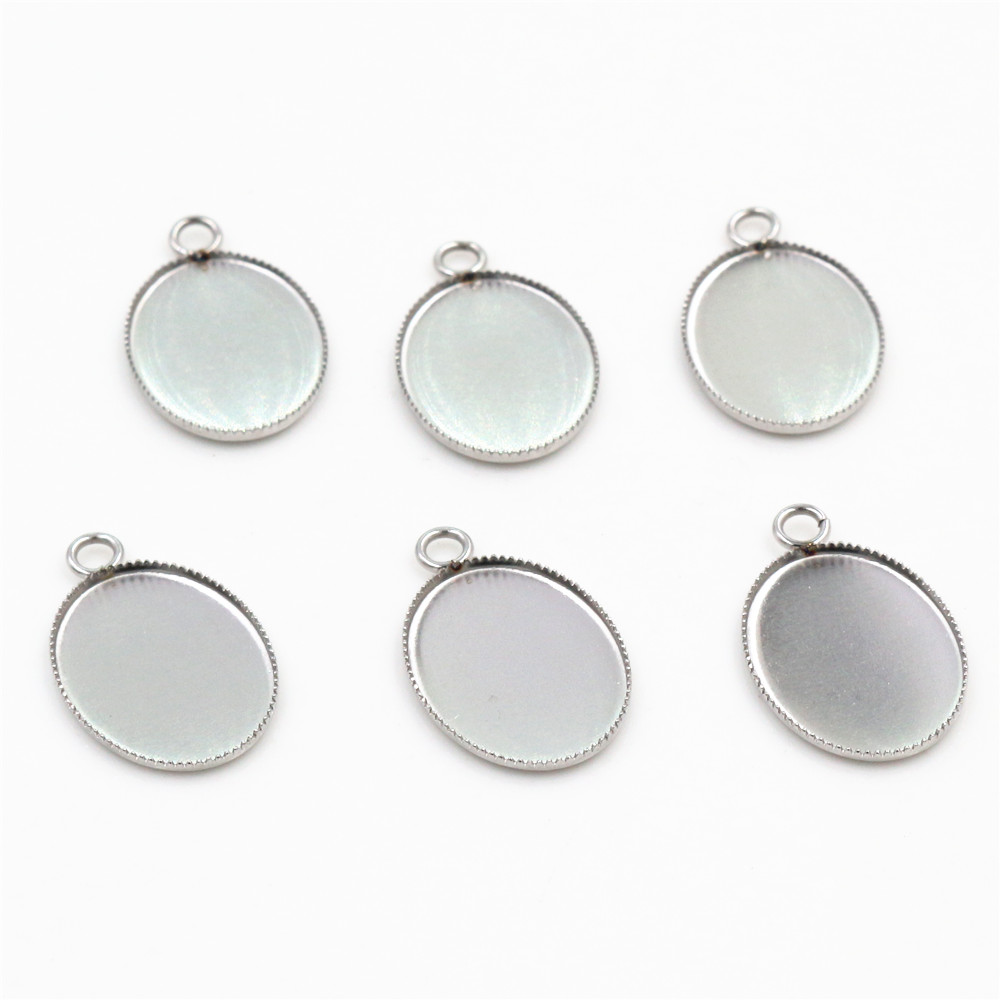 Stainless Steel Cameo Setting Oval Cabochon Pendant Base Pendant Setting 20pcs