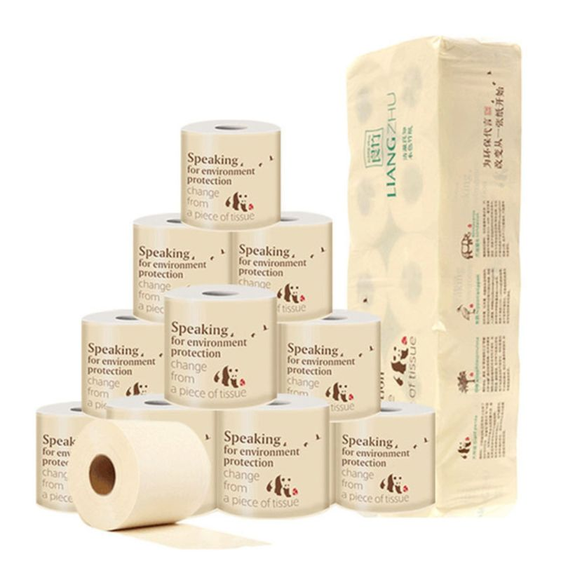10 Rolls Toilet Paper 3-Layers Thickened Household No Fragrance Bath Tissue Natural Wood Pulp Hand Towels